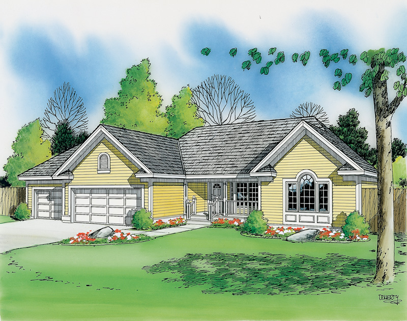 Ranch House Plan Front Image 038D-0008