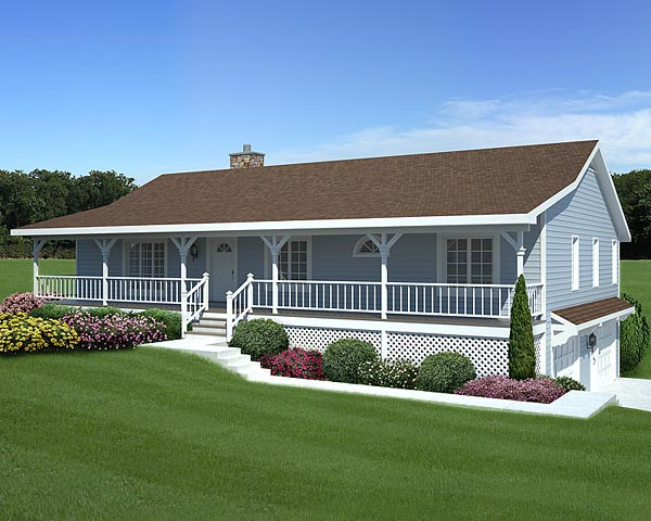 Ranch House Plan Front of Home 038D-0018