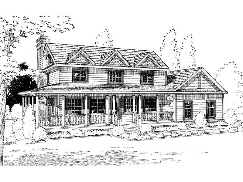 Colonial House Plan Front of Home 038D-0029