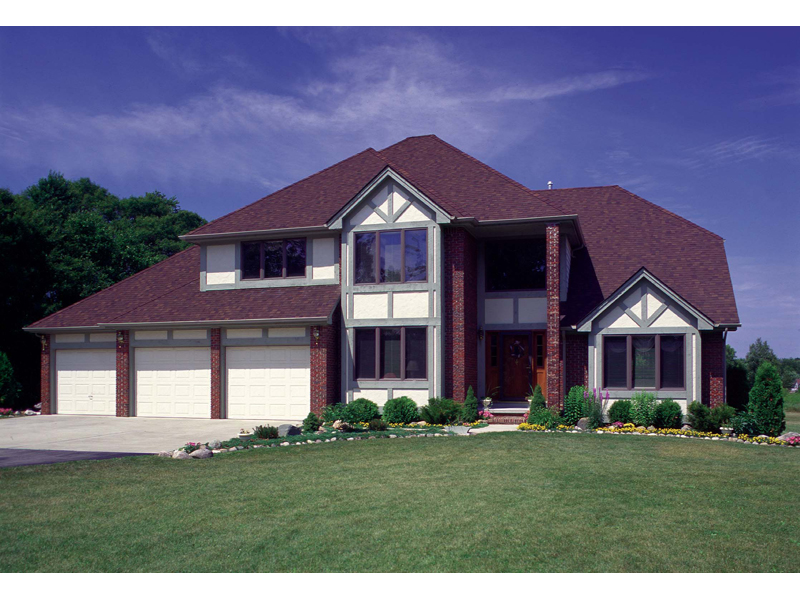 Tudor House Plan Front of Home 038D-0076