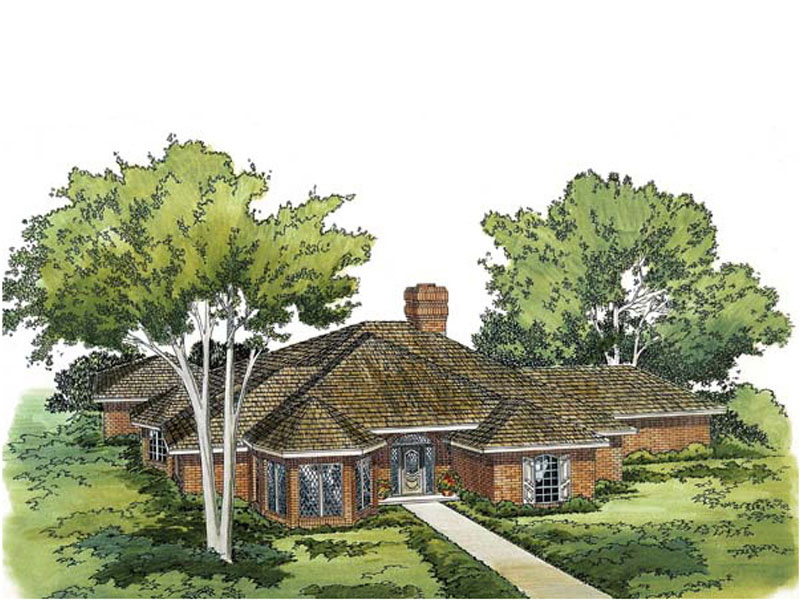 Practical Brick Ranch Design With Focal Turret