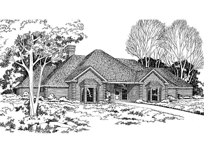 Symmetrical, Contemporary Brick Ranch