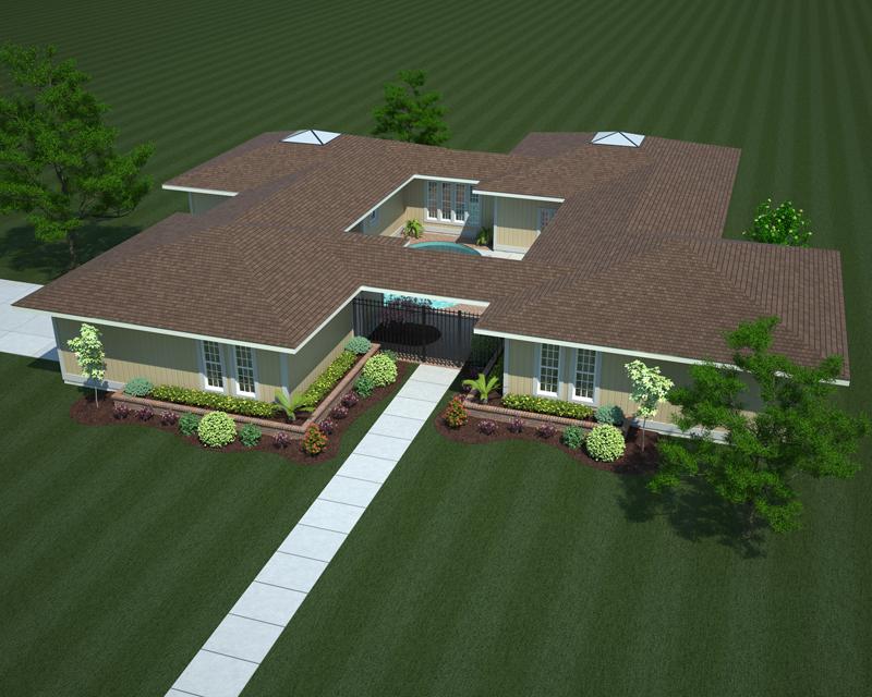 Sensational Home Design With Brick Courtyard
