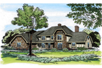 Rustic Tudor Home With Hip Roof Design