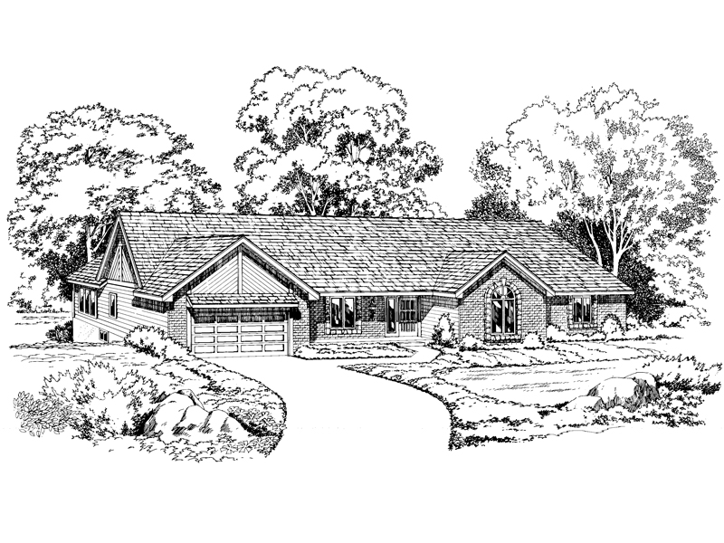 Ranch House Plan Front of Home - 038D-0215 | House Plans and More