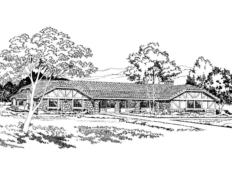 Sprawling Tudor Ranch Home With Stone Pillars