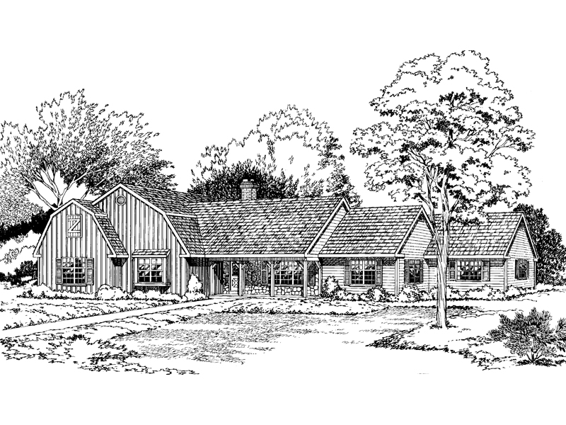 Ranch House Plan Front of Home - 038D-0246 | House Plans and More