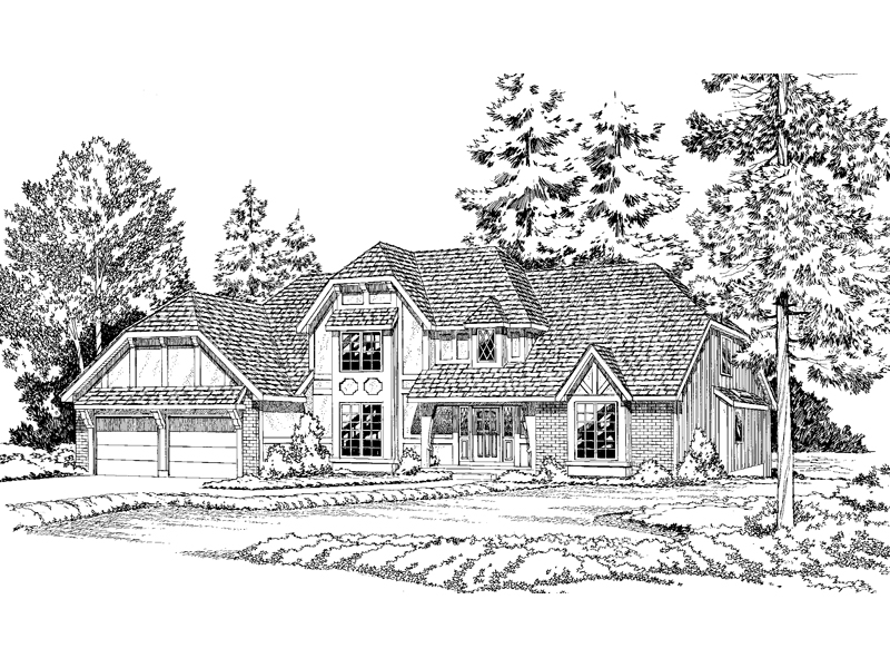 Traditional Tudor Design With Hip Roof Style