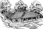 Unique, Luxury U-Shaped Ranch Home Design