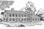 Brick, Georgian Colonial Home With Dominate Pediment