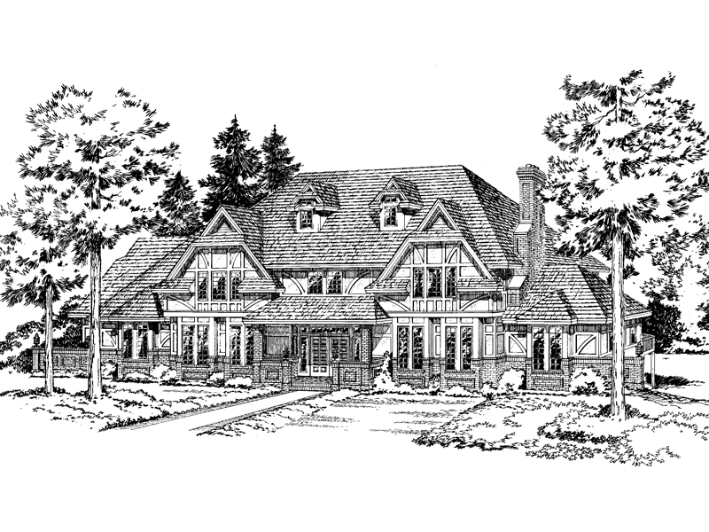 Symmetrical, European Tudor Home Design