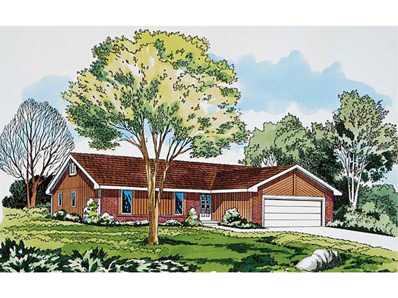Ranch House Plan Front of Home - 038D-0333 | House Plans and More