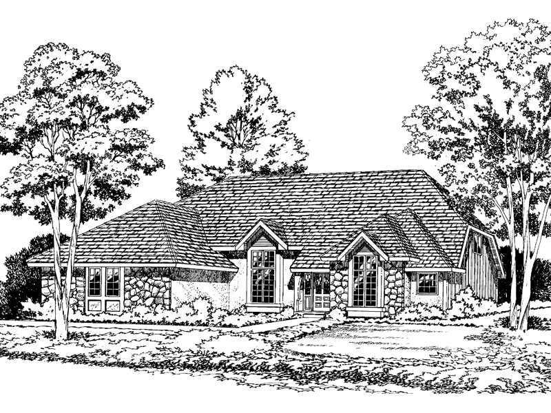 Traditional House Plan Front of Home - 038D-0360 | House Plans and More