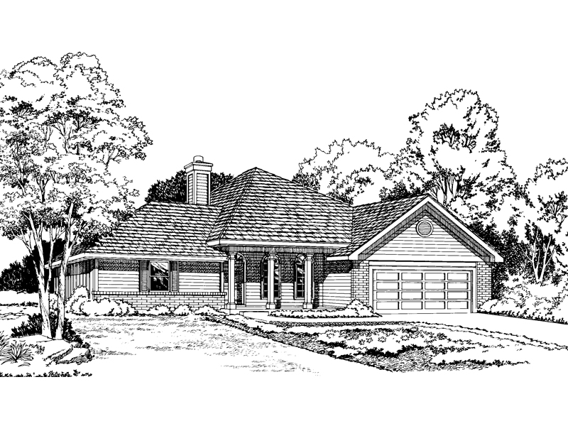 Columns In Front Accent This Ranch Plan