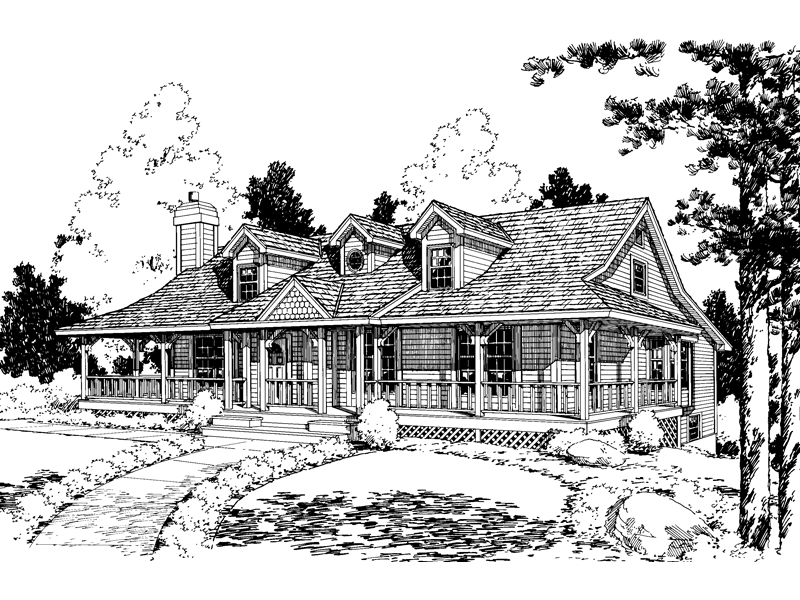 Welcoming, Cozy Country Design With Wrap-Around Porch