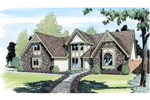 Gables And Stone Detail Add To this Tudor Home Plan