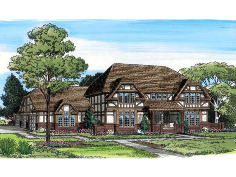 Grand, Luxurious Tudor Home Design With Broad Hip Roof