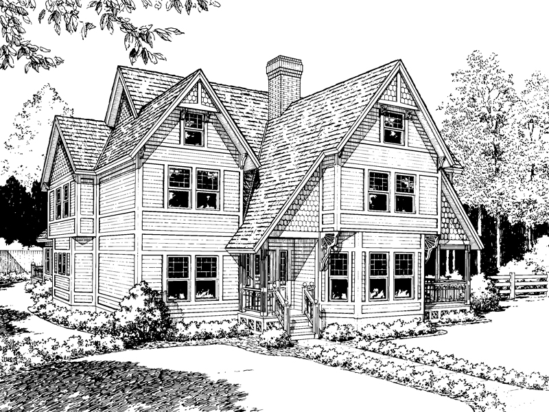Steep Gables Accentuate This Tudor Home