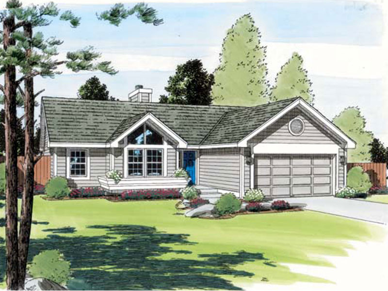 Ranch House Plan Front of Home - 038D-0473 | House Plans and More