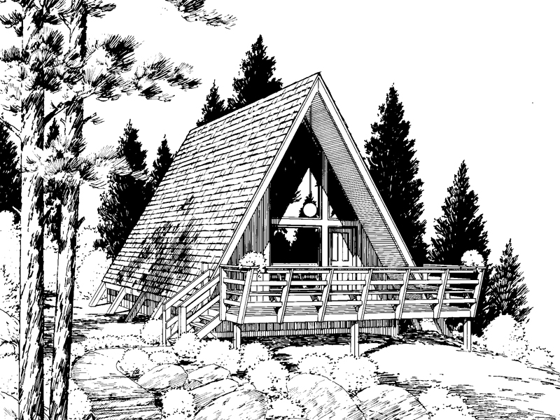 Whitmore Lake A-Frame Home Plan 038D-0477 | House Plans and More