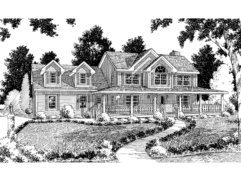 Sprawling Wrap-Around Porch Showcases This Farmhome Design