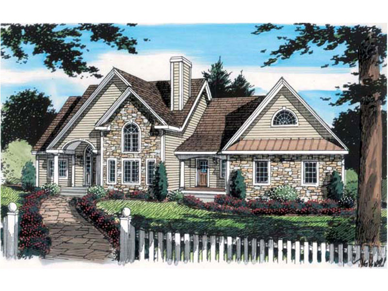 Ranch House Plan Front of Home 038D-0565