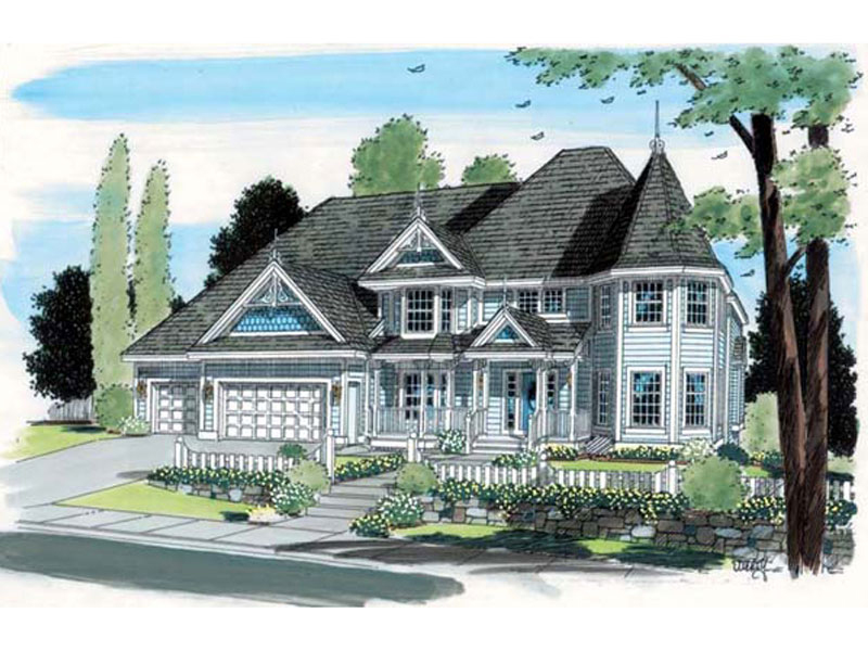 Farmhouse Plan Front of Home - 038D-0570 | House Plans and More