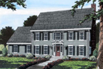Colonial, Early American Home With High Styled Broken Pediment