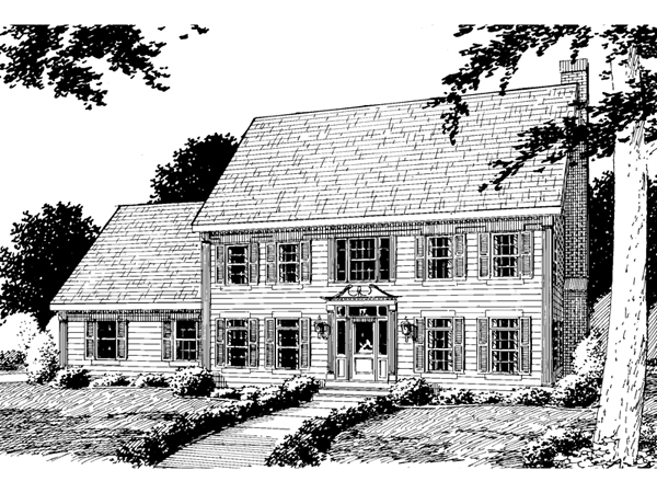 Federer early american home plan 038d 0587 house plans Early american home plans