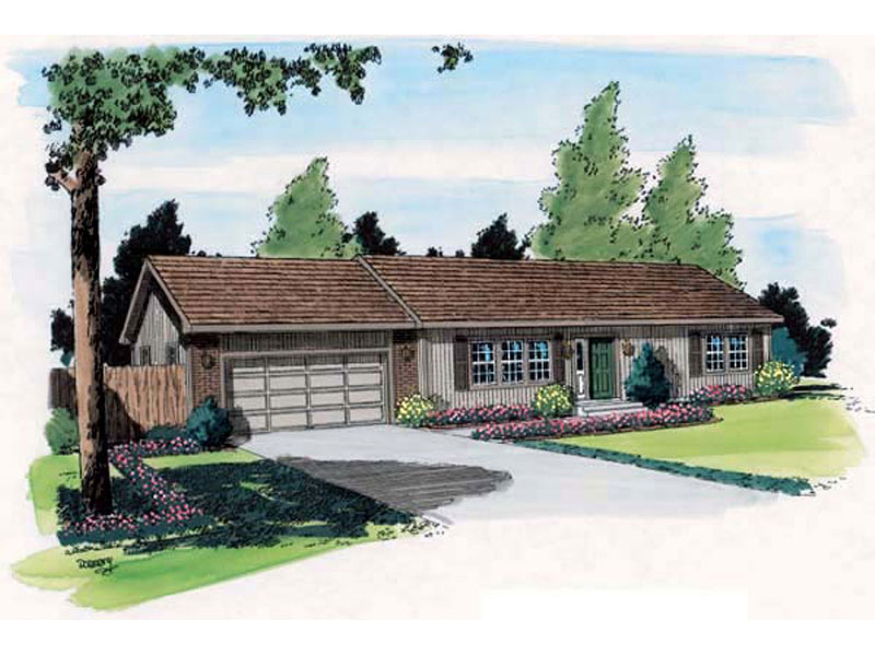 Traditional Ranch Home Featuring A Two Car Garage