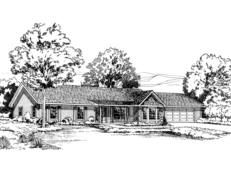 Ranch House Plan Front of Home - 038D-0639 | House Plans and More