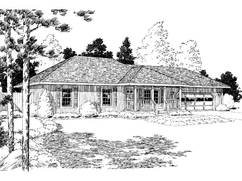 ranch home with hip roof and covered entrance design ideas the house designers Charming Ranch With Hip Roof And Wide Front Porch. © Copyright by designer-architect  Drawings and photos ...