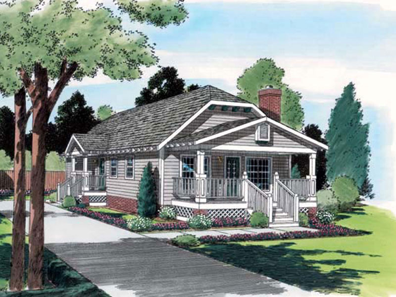 Ranch Narrow Lot With Long Hip Roof Design