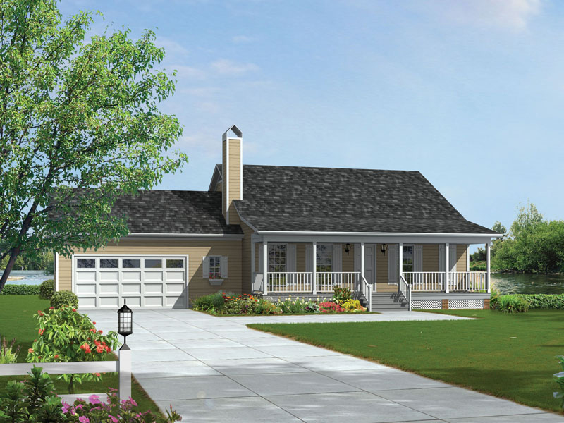 Acadian Sloped Roof On Country Ranch Design