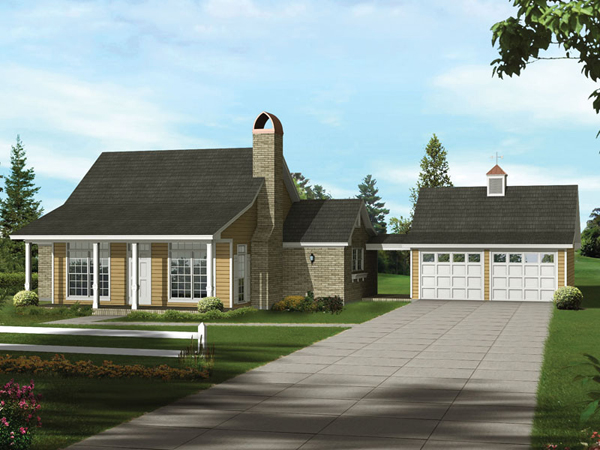 Lemoncove acadian ranch home plan 039d 0004 house plans for Breezeway connecting garage to house