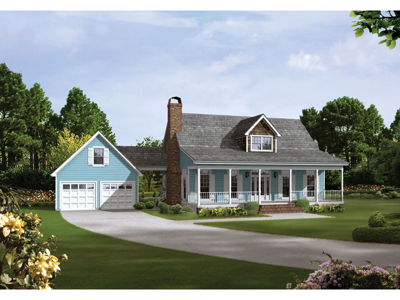 Auburn park country farmhouse plan 040d 0024 house plans for Attached garage plans with breezeway