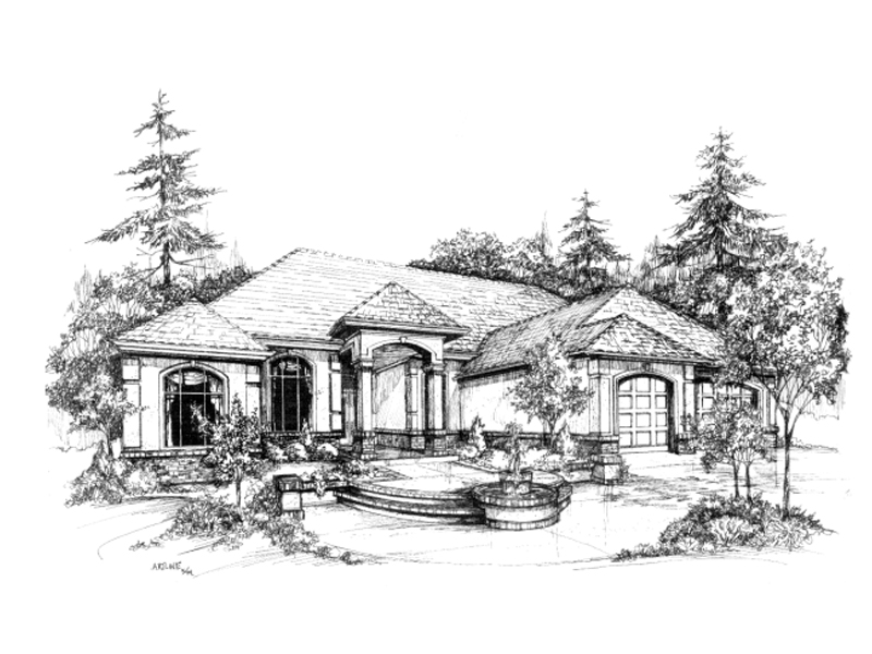 Southwestern House Plan Front of Home - 043D-0021 | House Plans and More