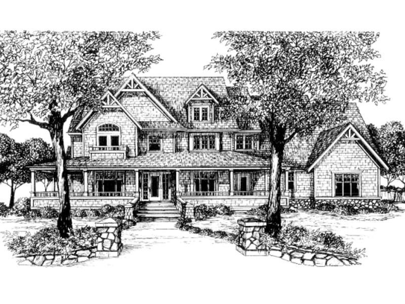 Farmhouse Plan Front of Home 043D-0058