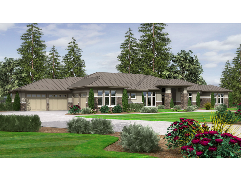 contemporary prairie style home with detailed stonework - Ranch Style House Plans