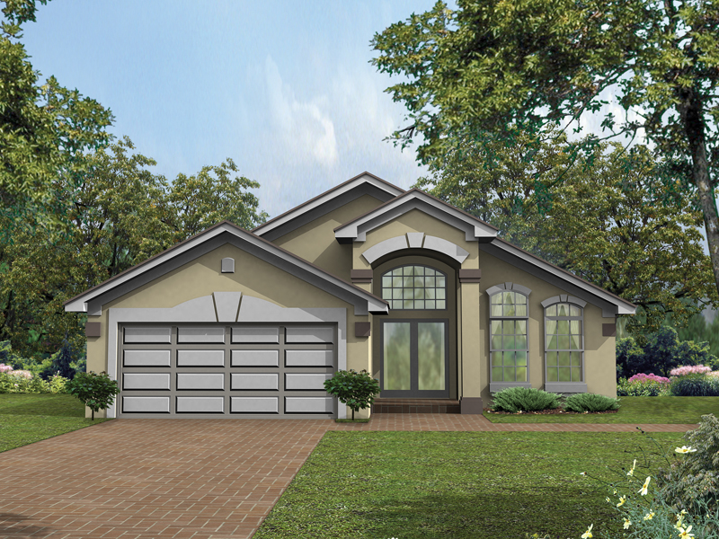Adobe & Southwestern House Plan Front of Home 047D-0006