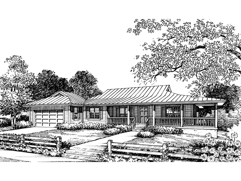 Ranch House Plan Front of Home - 047D-0013 | House Plans and More