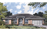 Formal Sunbelt Home With Enticing Arched Front Entrance