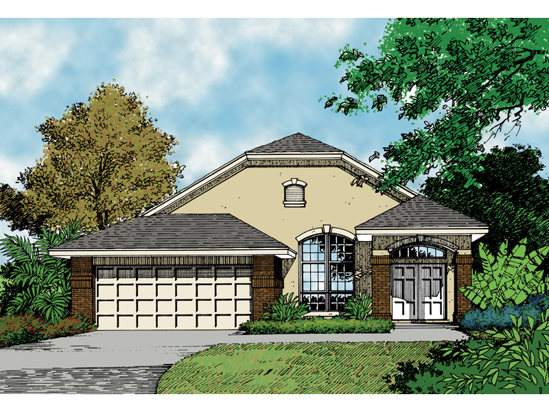 Adobe & Southwestern House Plan Front of Home 047D-0023