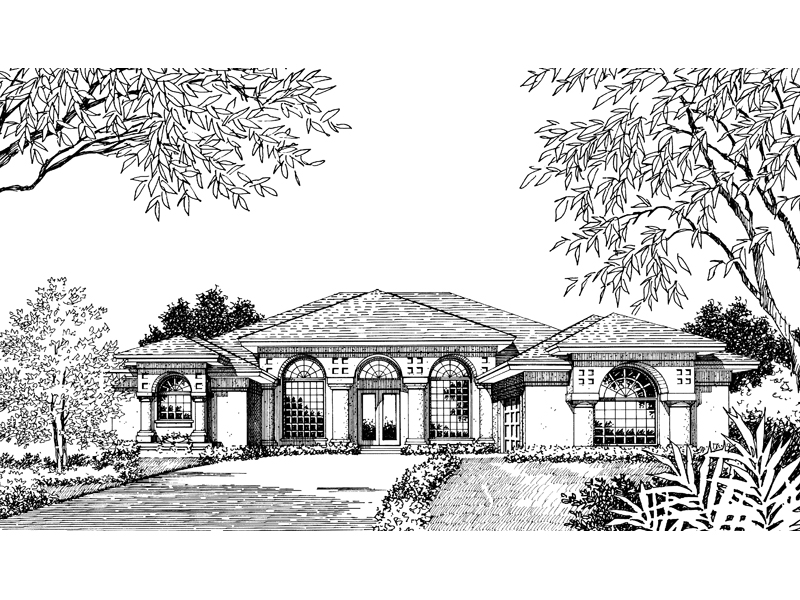 Santa Fe House Plan Front Image of House - 047D-0048 | House Plans and More