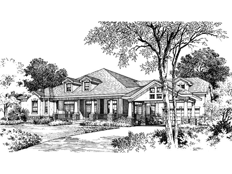 Arts and Crafts House Plan Front of Home 047D-0049