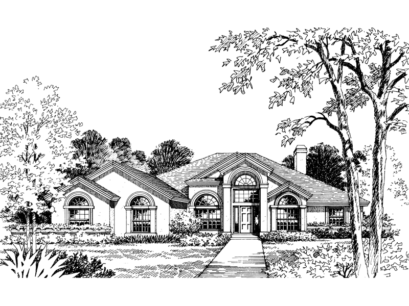 Adobe and Southwestern Plan Front of Home 047D-0051