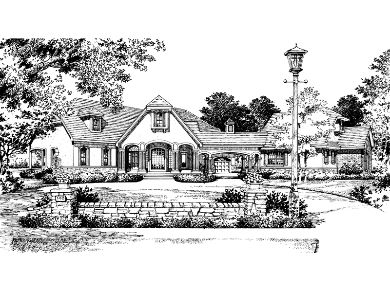 Adobe and Southwestern Plan Front Image of House 047D-0058