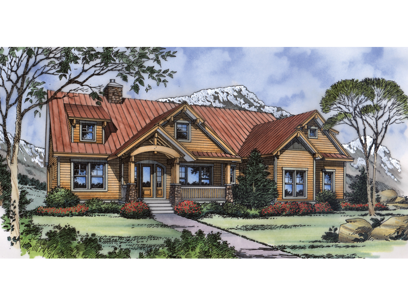 Ranch House Plan Front of Home - 047D-0076 | House Plans and More