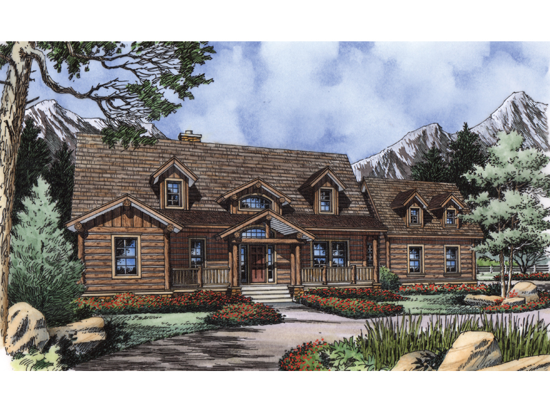Log House Plan Front of Home 047D-0081