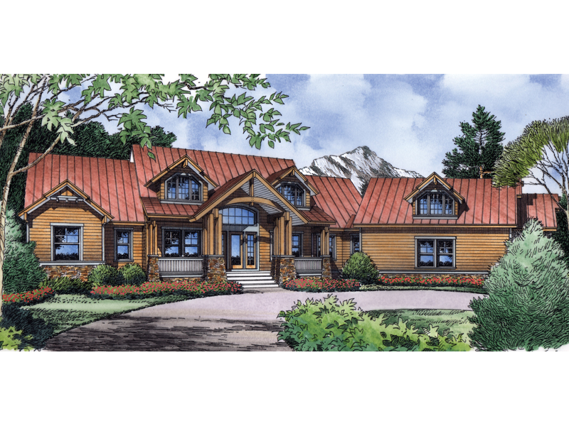 Rustic Mountain Style Home With Metal Roof And Large Dormers